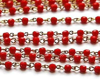 Red Faceted Czech Glass 4mm Bead Chain Raw Brass Links chn122