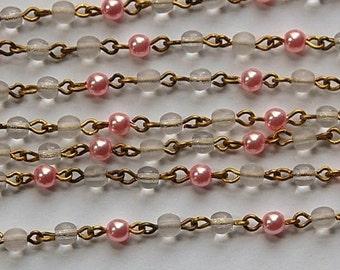 Pink Pearl Clear Czech Glass Bead Chain Raw Brass Links chn135