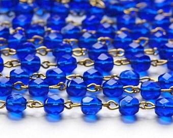 Sapphire Blue Faceted Czech Glass 6mm Bead Chain Raw Brass Links chn109