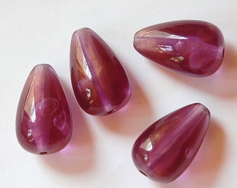 Vintage Purple and Gold Chubby Teardrop Beads bds203B