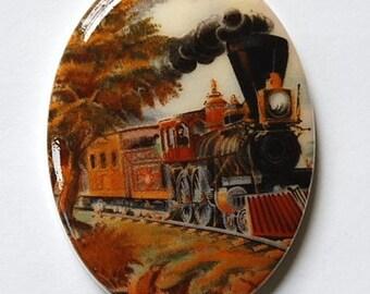 Vintage German Acrylic Train Cabochon 40x30mm cab049B