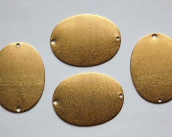 2 Hole Raw Brass Flat Oval Connector Blank Tags (4) mtl138