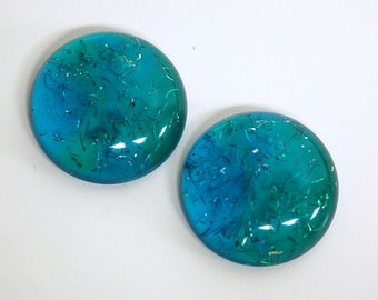 Vintage Blue and Green Lucite Cabochons with Confetti 28mm cab500B
