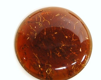 Vintage Brown Lucite Cabochon with Confetti 34mm cab500C