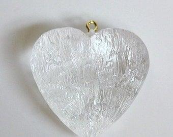 Vintage Clear Acrylic Crinkle Textured Heart Pendant pnd146C