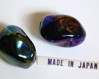 Vintage Focal Twist Ceramic Metallic  Iridescent Beads Japan bds111A