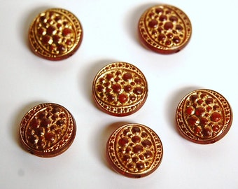 Vintage Red Acrylic Bumpy Top Coin Beads with Gold bds235