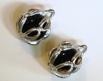 Rare Vintage Black Glass Ball with Pewter Colored Frame Pendant chr154F