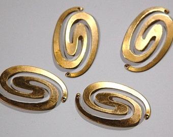 Raw Brass Spiral Connector Pendants mtl186