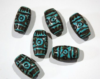 Vintage Etched Turquoise Blue Rectangle Acrylic Beads with Brown bds288