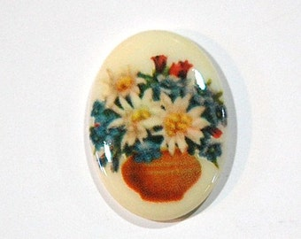 Vintage Glass Cabochon Bowl of Flowers 25x18mm cab680K
