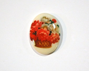 Vintage Glass Cabochon Basket of Flowers 25x18mm cab680H