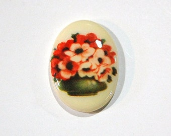 Vintage Glass Cabochon Bowl of Flowers 25x18mm cab680J