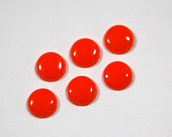 Vintage Opaque Orange Glass Cabochons 8mm cab173