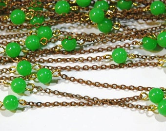 Vintage Green Plastic Beaded Chain Japan chn065B