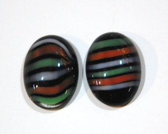 Vintage Striped Glass Domed Cabochons Germany 18x13mm cab051