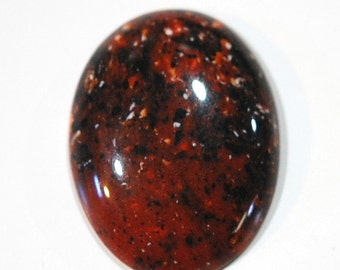 Vintage Brown Acrylic Cabochon with Black and White Speckles 40x30mm cab812D