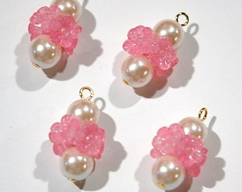 Vintage Pink Plastic Flower Rhondell with Pearl Drop Charm drp093