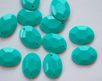 Vintage Turquoise Blue Plastic Faceted Drops Connectors bds031D