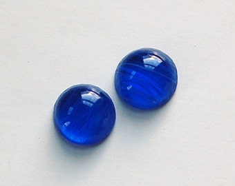 Vintage Blue Glass White Swirls Domed Cabochon cab705Y
