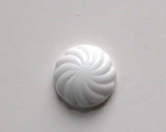 Vintage White Glass Swirled Domed Cabochon cab220B