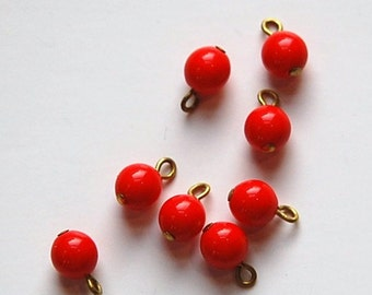 1 Loop Red Smooth Glass Drops Czech Beads 6mm (8) drp089A