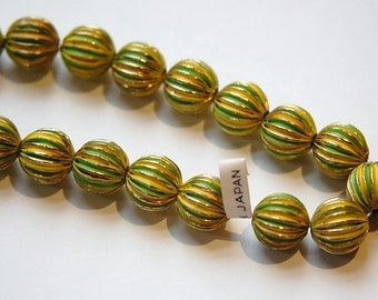 Vintage Brass Melon Beads Painted Green Yellow Japan bds999E