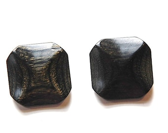 Vintage Black with Golden Brown Grain Pinched Wood Buttons MD btn026A