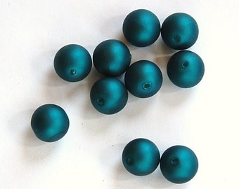 Vintage Acrylic Matte Metallic Teal Blue Beads 8mm (10) bds318