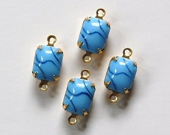 Vintage Opaque Blue Stones with Black 2 Loop Brass Setting 10mm x 8mm squ003T2