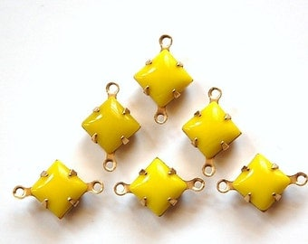 Opaque Yellow Square Glass Stones in 2 Loop Brass Setting 8mm squ002CC2
