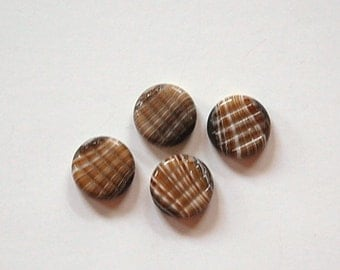 Vintage Brown and White Marbled Ribbed Glass Cabochons cab703V