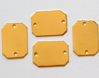 2 Hole Gold Plated Flat Pad Rectangle Connector Setting (6) mtl225D