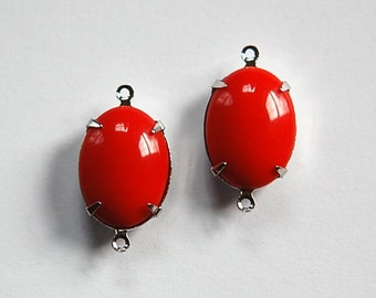Vintage Opaque Red Stone in 2 Loop Silver Setting ovl004RR2