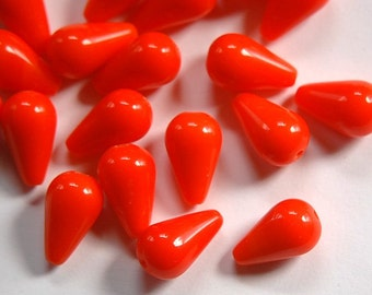 Vintage Orange Teardrop Glass Beads Germany 17mm grm005B