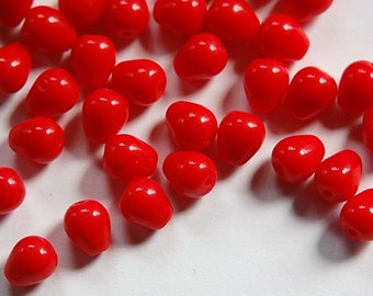 Vintage Opaque Darker Red Chubby Teardrop Glass Beads Germany 9mm (8) grm007C