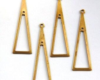 2 Hole Raw Brass Long Triangle Pendant Drop 42x14mm (4) mtl054