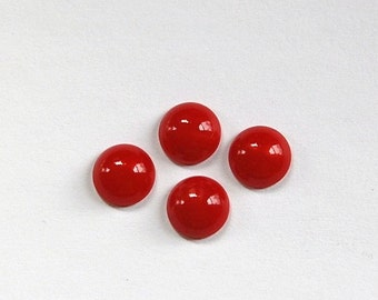Vintage Opaque Red Glass Domed Cabochons 9mm cab702W