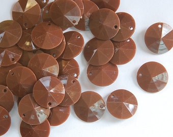 Vintage Faceted Chocolate Brown Round  Disk Charms Drops 15mm (12) chr026B