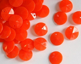 Vintage Faceted Orange Round Disk Charms Drops 12mm (15) chr026H