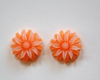 Orange and White Double Layered Acrylic Flower Cabochon 19mm (4) cab850D