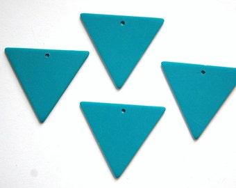 Vintage Bottom Hole Plastic Teal Blue Triangle Charm Pendant chr017A