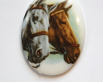 Vintage Brown and White 2 Horses Glass Cameo 40x30mm Germany cab748G