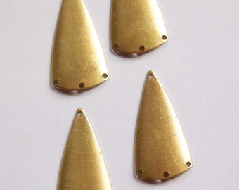4 Hole Raw Brass Dapped Triangle Connector Pendants (4) mtl363B