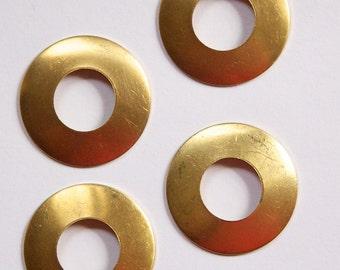 No Hole Raw Brass Dapped Open Circle Pendant Drop mtl102