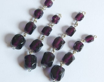 Vintage Faceted Purple Glass Drops Silver Tone Links drp107A