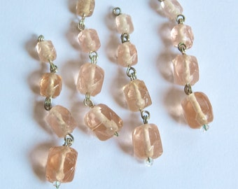 Vintage Faceted Peach Glass Drops Silver Tone Links drp107B