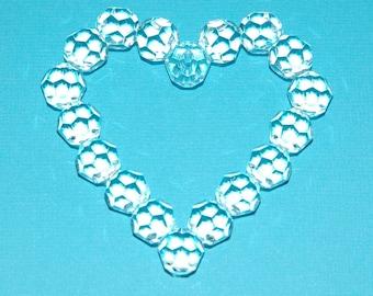 Big Faceted Vintage Lucite  Crystal Heart Pendant  pnd067