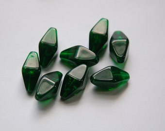 Vintage Green Bicone Beads with Floating Pieces bds815b