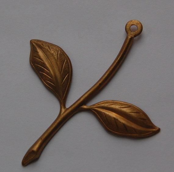 Vintage Brass Stamped Flower Stem with Leaves (1) mtl267